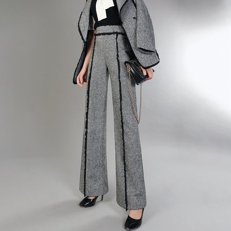 Ancha Cintura Gris Lana Cremallera Nueva Yf60702 Mujer Lanmrem Pantalones Pierna Patchwork Sueltos Moda Borla Alta Seide 2018 De Para wnIxWTqCR