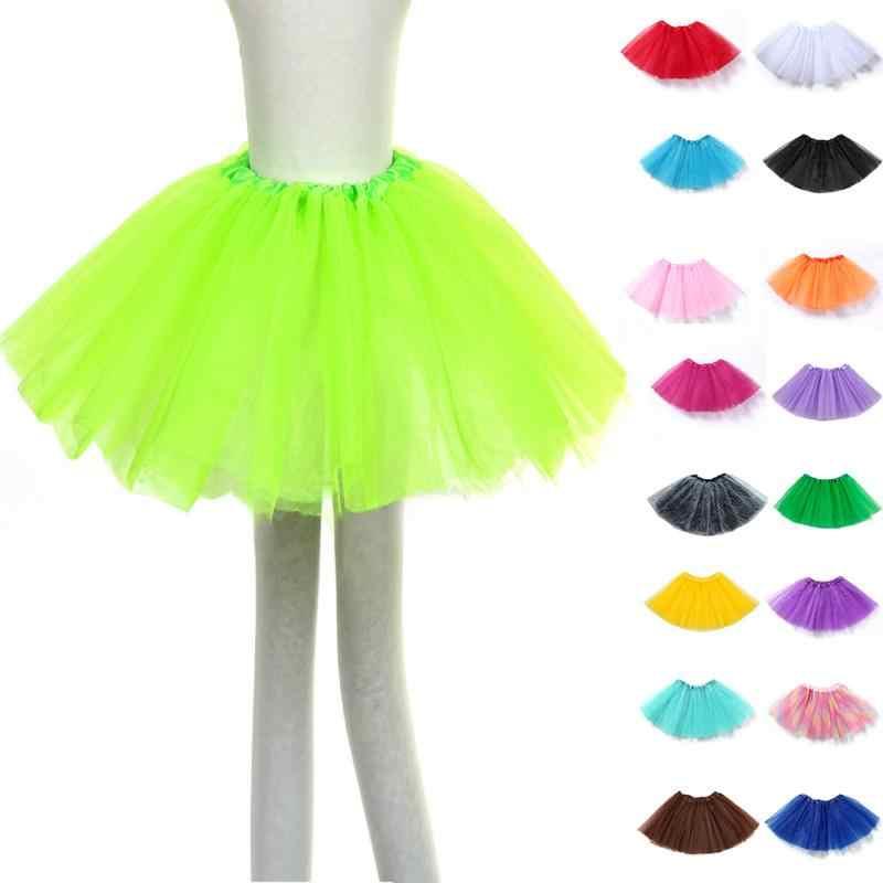 Девушка довольно эластичный тюль подросток 3 Слои взрослых юбка-пачка Детский костюм для вечеринок юбка балета мини-юбка принцессы