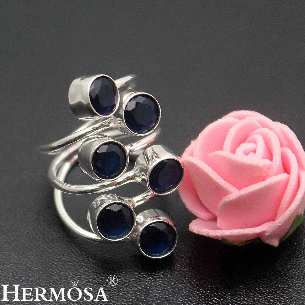 Hermosa Sieraden Mooie 6 ronde Topaz925 Sterling Zilveren fashion Ring Maat 5 HF1425