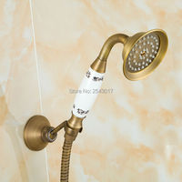 Bathroom Handheld Shower Blue and White Porcelain 150cm Flexible Pipe Holse Wall Mounted Antique Replacement Hand Shower SA110