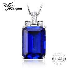 Jewelrypalace lujo emerald cut 9.4ct creado azul zafiro colgante conjunto sin collar genuino 925 plata esterlina de la vendimia