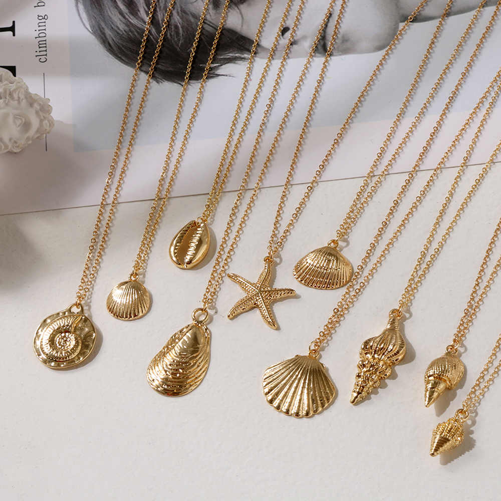 1pc Bohemia Fashion Gold Color Alloy Cowrie Shell Necklace for Women Conch Chain Pendant Necklace Summer Jewelry Starfish Collar