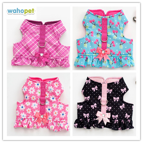 Free shipping New style pet dog puppy small dog harness vest flower cherry rose pink plaid bow