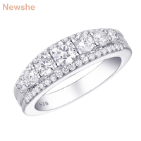 Newshe AAA CZ Solid 925 Sterling Silver Round White 1.2Ct Wedding Engagement Ring Classic Jewelry Gift For Women 1R0010
