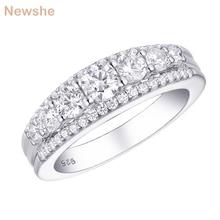 Newshe Solid 925 Sterling Silver Weddingหมั้นแหวน1.2CtตัดรอบAAA CZ Eternity Bandของขวัญเครื่องประดับสำหรับผู้หญิง1R0010