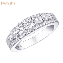 Newshe Solid 925 Sterling Silver Wedding Engagement Ring 1.2Ct  Round Cut AAA CZ Eternity Band Jewelry Gift For Women 1R0010