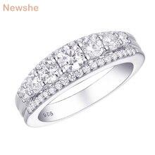 Newshe Solido 925 Sterling Silver Wedding Anello di Fidanzamento 1.2Ct Taglio Rotondo AAA CZ Eternity Fascia Dei Monili di Regalo Per Le Donne 1R0010