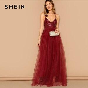 Image 4 - Vestido largo SHEIN sexi de color burdeos entrecruzado con espalda descubierta y lentejuelas con tiras, vestido de fiesta de verano de color liso con ajuste y llamarada de malla