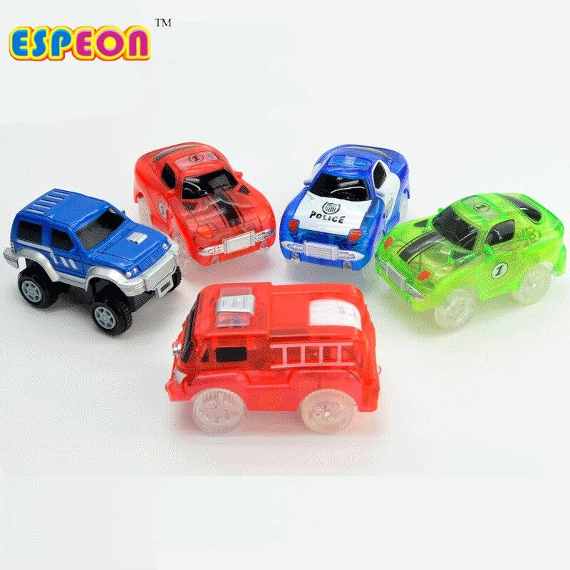 KIDS POLICE CAR TOY SET ENGINE GLOW  TRACK SET SOUND AND LIGHT GIFT