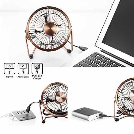 Mini USB Meja Desktop Fan Pribadi (Desain Logam Antik Operasi Yang Tenang; 3.9 Kaki Kabel USB, kompatibilitas Tinggi