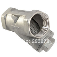 Free shipping 1 1/4 Y TYPE 800 WOG NPT WYE STRAINER SS316 CF8M STAINLESS STEEL MESH FILTER VALVE