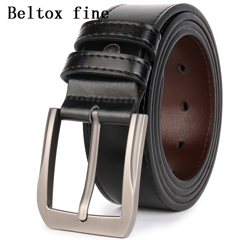 Men's Dress Genuine Leather   Belts   3.8cm Wide Alloy Prong Pin Buckle Classic Stitched Designer Regular Big and Tall Men   Belt