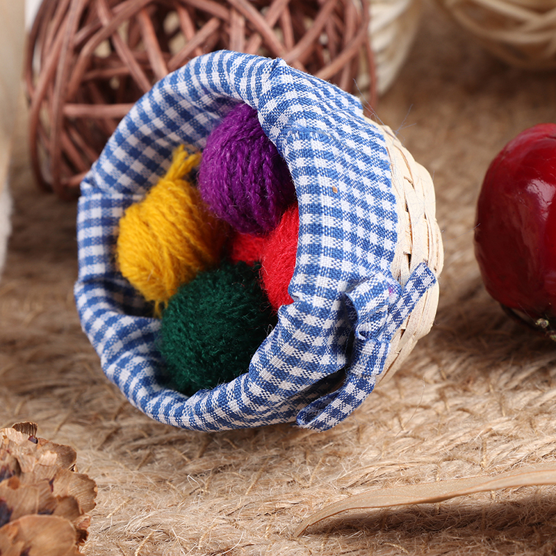 1/12 Dollhouse Miniature Accessories Mini Knitting Tools Basket Simulation Wool Model Toys For Doll House Decoration