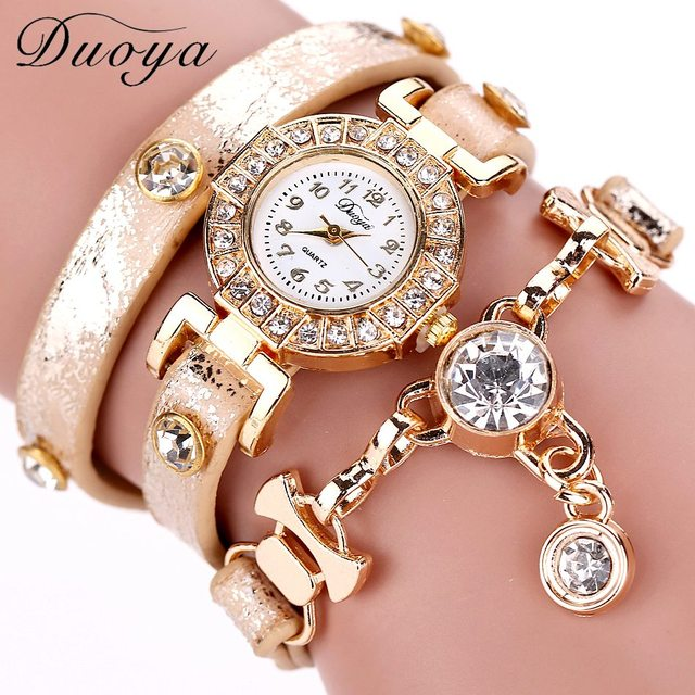 Duoya Women Watches Gemstone New Luxury Bracelet Watches Dress Women Dress Fashi