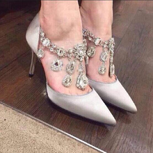 2016 New Thin High Heel Women Shoes Genuine Leather Rhinestone Black Rose White Single Pumps Shallow Opening Wedding 34-39 ZK3.5