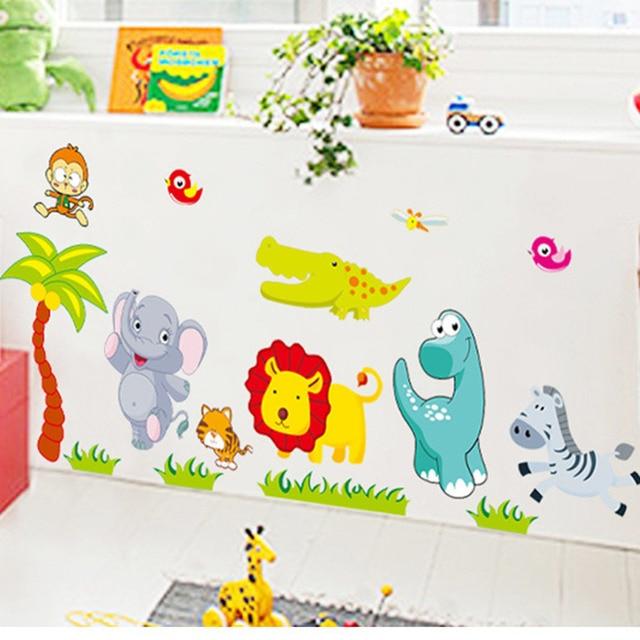 € 2.88 20% de réduction Dessin animé Jungle animaux sauvages bricolage 3D  vintage papier peint vinyle stickers muraux pour enfants chambres enfant ...