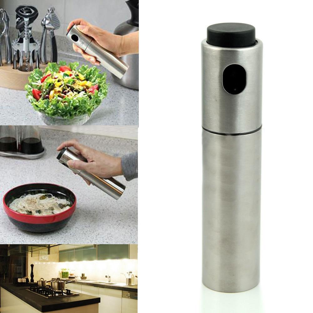 80ML/135ML Kitchen Accessories Silver Stainless Steel Spice Container Olive Oil Vinegar Sprayer Spraying Bottle BBQ Cooking Tool