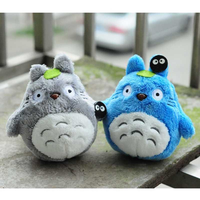 Totoro Panda Kawaii ตุ๊กตาสัตว์ของขวัญของเล่นสำหรับตุ๊กตาเด็กตุ๊กตาพวงกุญแจกระเป๋าเป้สะพายหลังจี้ตกแต่งความงามสีฟ้าของเล่นสีเทา