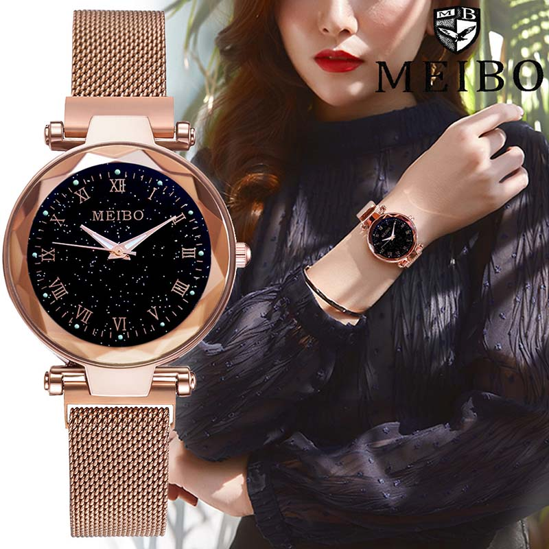 Luxury Women 39 s Fashion Stainless Steel Mesh Magnetic Buckle Watches Geometric Surface Female Luminous Roman Numeral Watch Clock in Women 39 s Watches from Watches