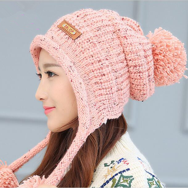 Fashion Women Spring & Winter Warm  Skullies Beanies Knitted Hat / Cotton Winter Cap Brand Women Beanie Hat Wholesale skullies