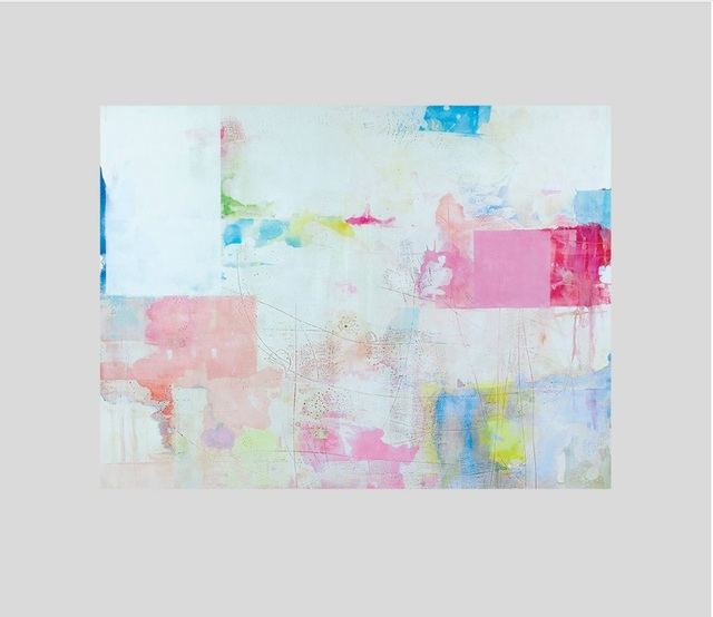 Simple Pink Light Blue Color Block Abstract Creative Print Picture ...