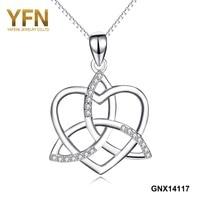 YFN 925 Sterling Silver AAA Cubic Zirconia Love Heart Celtic Knot Cross Pendant Necklace For Women