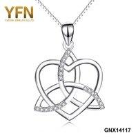 GNX14117 yfn 925スターリングシルバーaaaキュービックジルコニア愛ハートファッション結びクロスペン