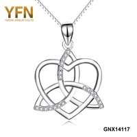 YFN 925 Sterling Silver AAA Cubic Zirconia Love Heart Celtic Knot Cross Pendant Necklace For Women