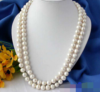 """huij 001661 REAL 50"""" ROUND WHITE FRESHWATER CULTURED PEARL NECKLACE"""