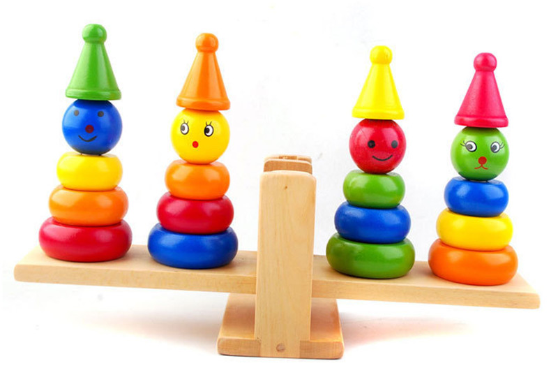Šķirņu līdzsvars klaunu bilances kolonna agrīnās bērnības izglītojošās koka rotaļlietas Bloki komēdijas klauns Bilance Bezmaksas piegāde