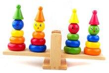 Variety balance clown column early childhood educational wooden toys Blocks comdian Balance Free shipping