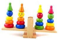 Vielzahl balance clown balance spalte frühen kindheit pädagogisches hölzernes spielzeug Blöcke comdian clown Balance Kostenloser versand