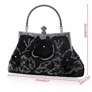 Image 5 - THINKTHENDO  Retro Style Beaded Embroidery Evening Clutch Bag Clutch Bridal Wedding Party Purse Handbag Women Luxury