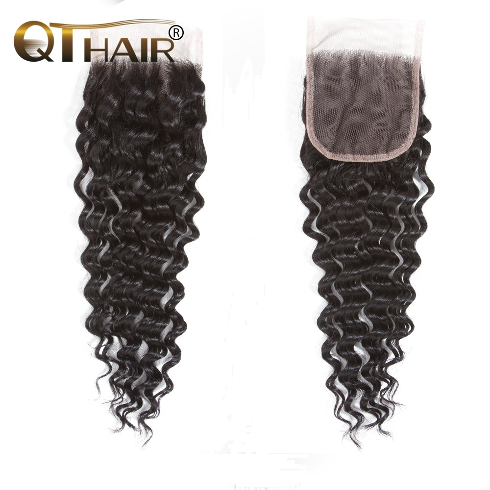 QT Hair Brazilian Deep Wave Closure With Baby Hair 4 X4 Human Hair Lace Closure Bleached