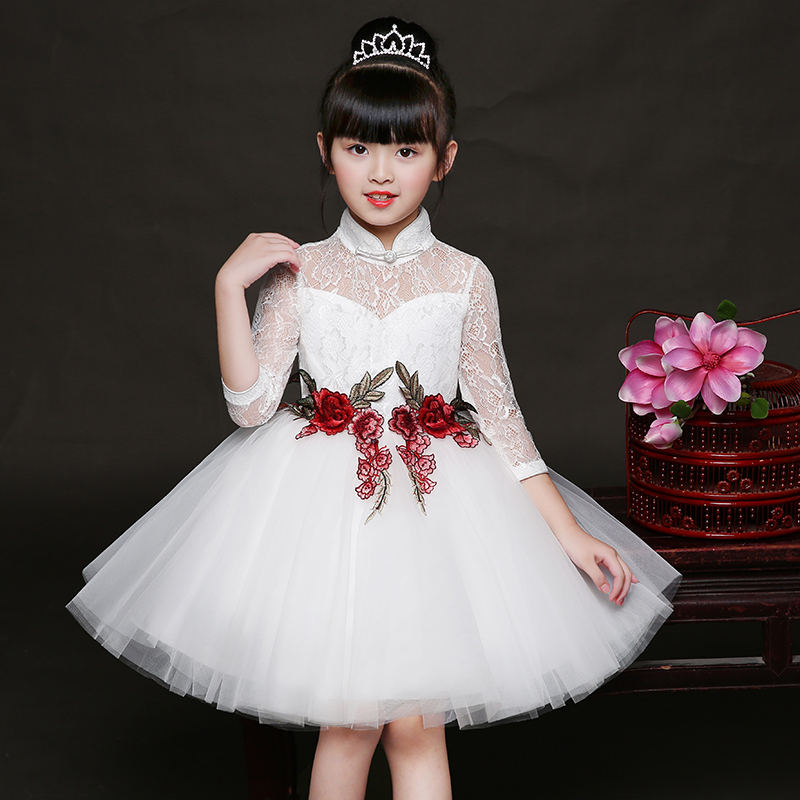 Baby Girl Kid Evening Party Dresses For Girl Wedding Princess Clothing 2018 New Solid Color Bow Moderator Dress Children Clothes 2017 new girls dresses for party and wedding baby girl princess dress costume vestido children clothing black white 2t 3t 4t 5t