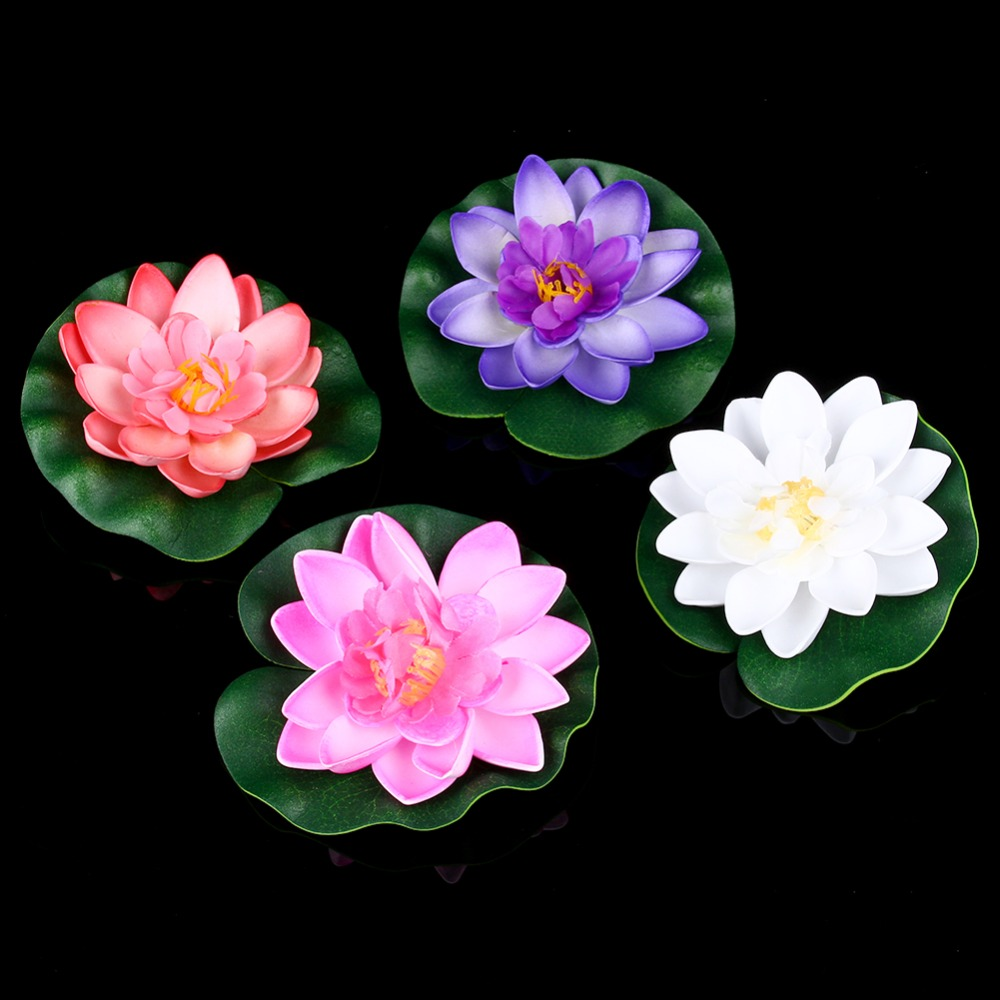 Artificial Fake Lotus Flowers Water Lily Blooming Flower Head