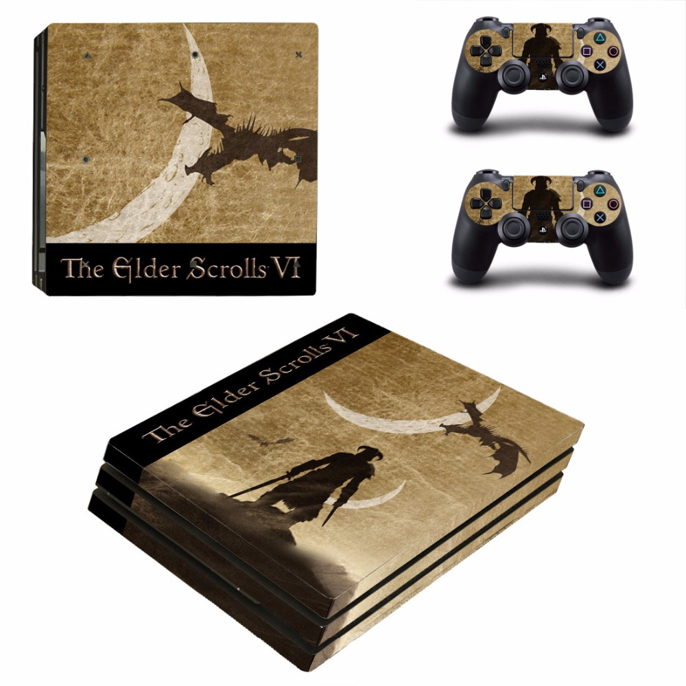 The Glder Scrolls VI 6 PS4 Pro Skin Sticker For Sony PlayStation 4 Console and Controllers PS4 Pro Skin Stickers Decal Vinyl