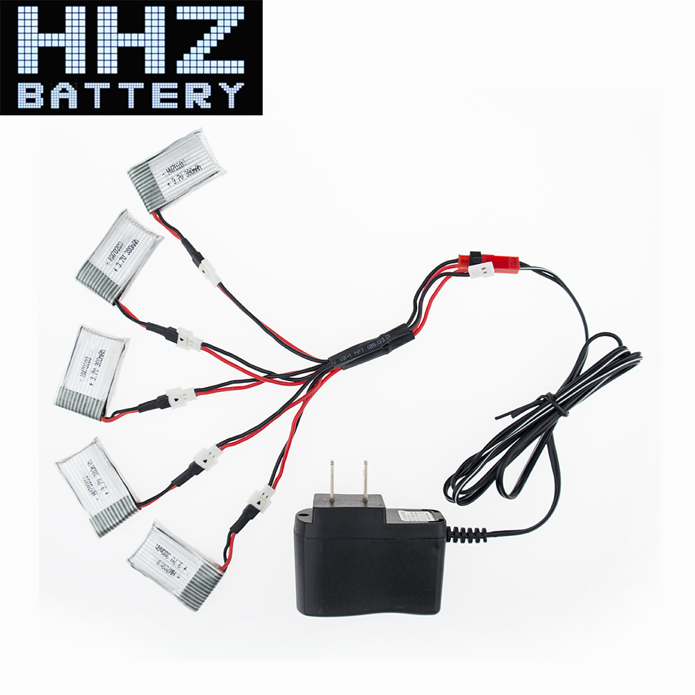 5X H107C <font><b>3.7V</b></font> <font><b>380mAh</b></font> <font><b>Lipo</b></font> <font><b>Battery</b></font> With 5in1 Cable Charger Plug For Drone H107D H107C Quadcopter RC Aircraft F08529-A RC <font><b>Battery</b></font> image