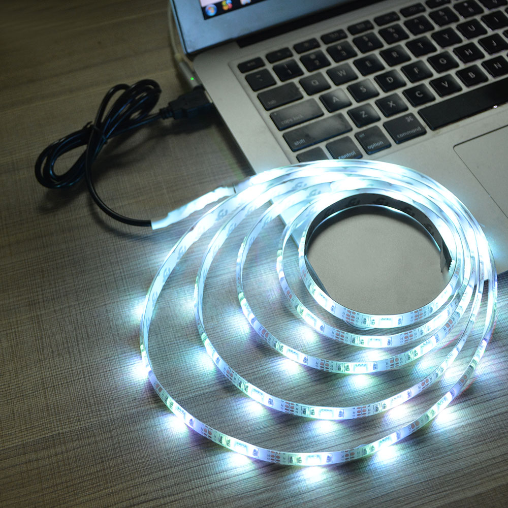 1Pcs 1M SMD2835 DC 5V LED Strip Light White/Warm White 60leds USB ...
