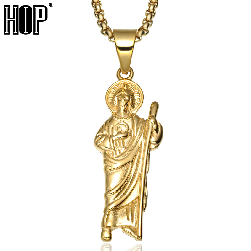 В стиле хип хоп с золотистым или титановым покрытием Иисусом из нержавеющей