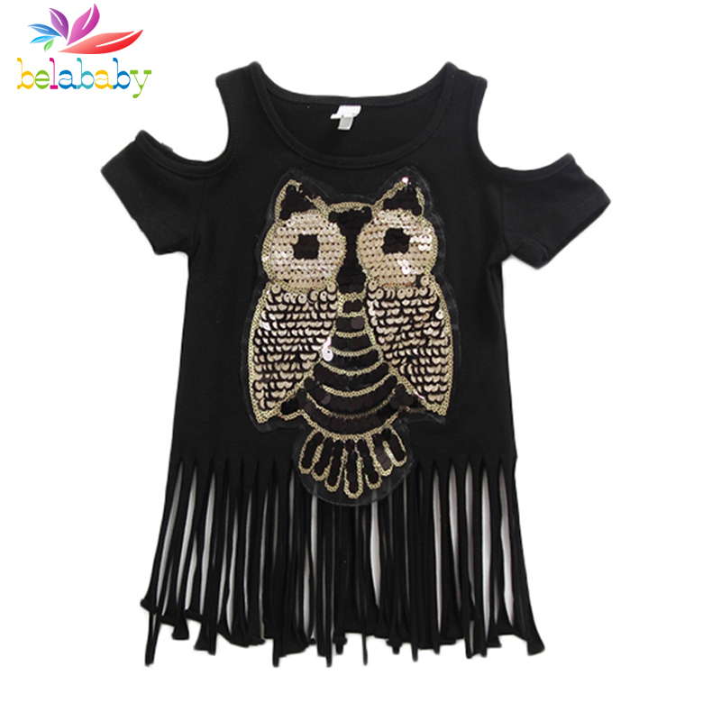 Belababy Baby Girls Tshirt 2018 New Girl Summer Sequins Owl Casual T-shirts For Kids Childrens Cotton Long Tassel Tops