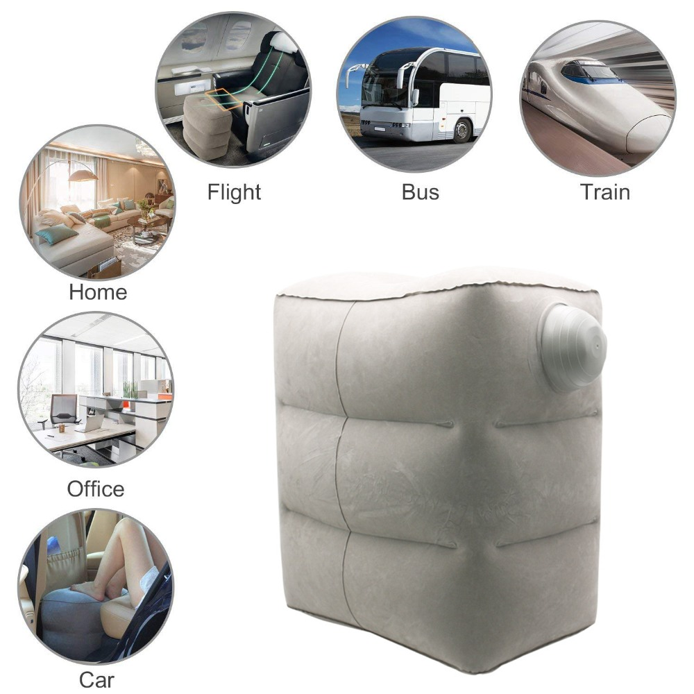 Inflatable Travel Foot Rest Pillow Kids Car Airplane