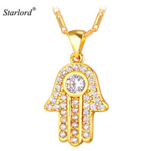 Hamsa Hand Necklace Gold Color Cubic Zirconia Pendants & Necklaces Women/Men Link Chain Amulet Hand of Fatima Jewelry P1664(China)