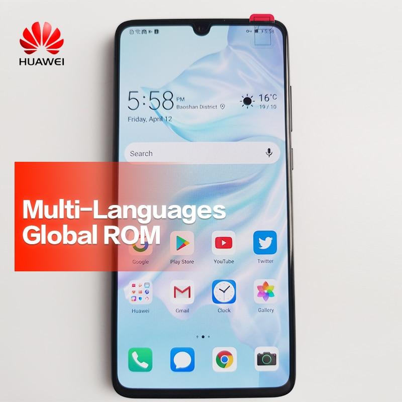 ROM HUAWEI P30 Global Mobile Phone Tela Cheia Suporte NFC OTA atualização 3650 mAh Smartphones Núcleo octa Android Bar 40MP + 16MP + 8MP