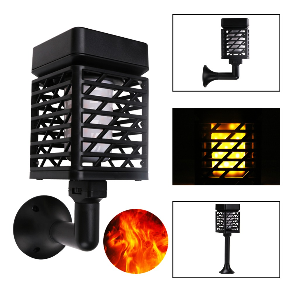 USB Charging Solar Light Path Torches Flame Light Lighting 96 LED Dusk to Dawn Flickering Lamp Outdoor Waterproof Garden Light