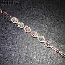 ZHHIRY Natural Color Opal Gemstone Bracelet Genuine 925 Sterling Silver Bracelets For Women Fine Jewelry