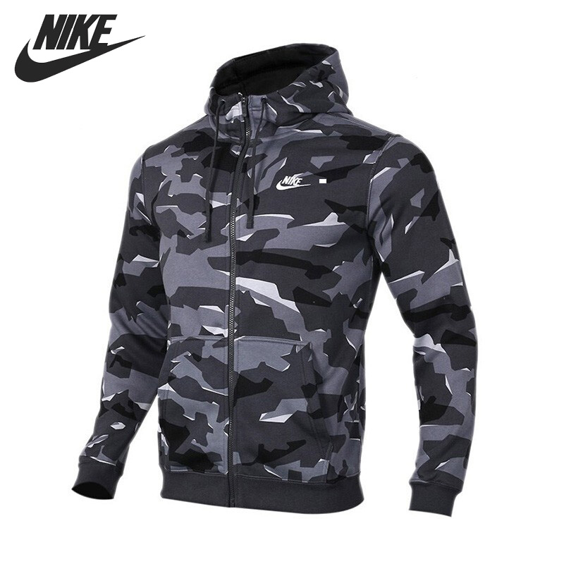 US $88.9 30% OFF|Original New Arrival 2019 NIKE AS M NSW CLUB CAMO HOODIE FZBB Men's Jacket Hooded Sportswear in Running Jackets from Sports &
