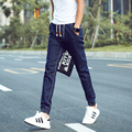 Japanese Style It'll Work Men Banded Jeans Pants Elastic Cuff  Mens Long Denim Trousers For Homme Blue 2016 New