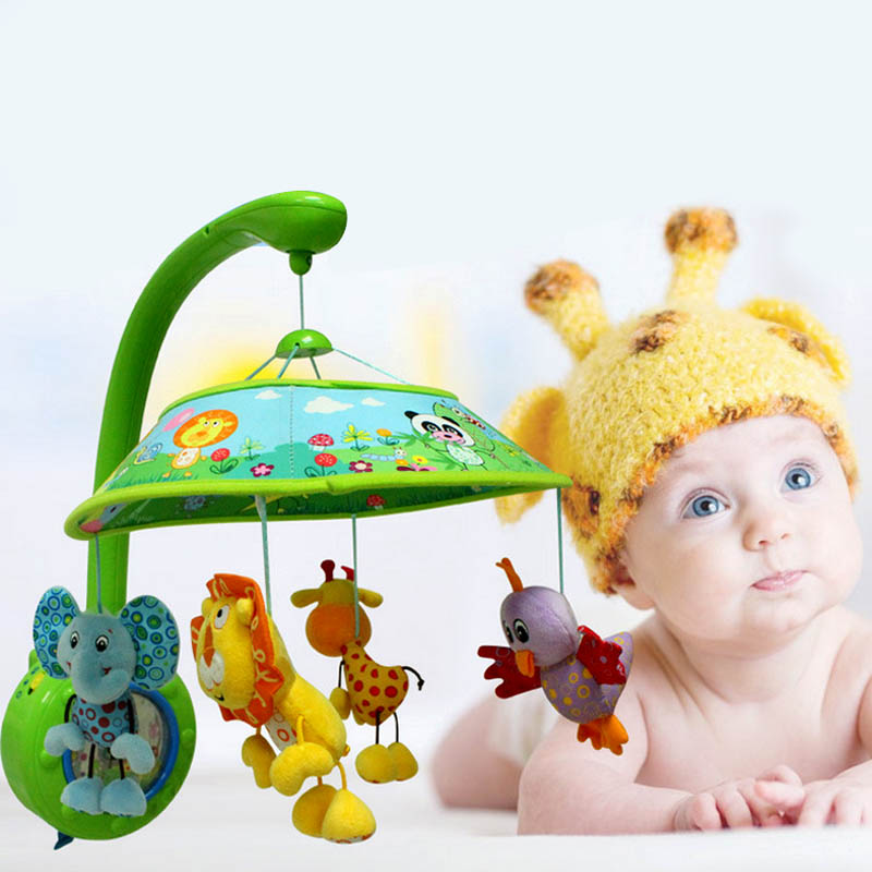 Hot Selling Safe Baby Toddler Mobile Crib Bed Toy with four Dolls Cute Soft Animal Handbells Infant Bell Hanger -17 ...
