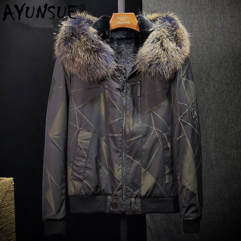 AYUNSUE Real Fur Parka Men Winter Coat Natural Rabbit Fur Liner Warm Jacket Raccoon Fur Collar Hooded Parkas Hombre 2019 51016